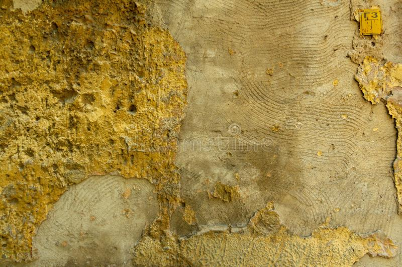 Wall of concrete and brick with plaster texture royalty free stock photo