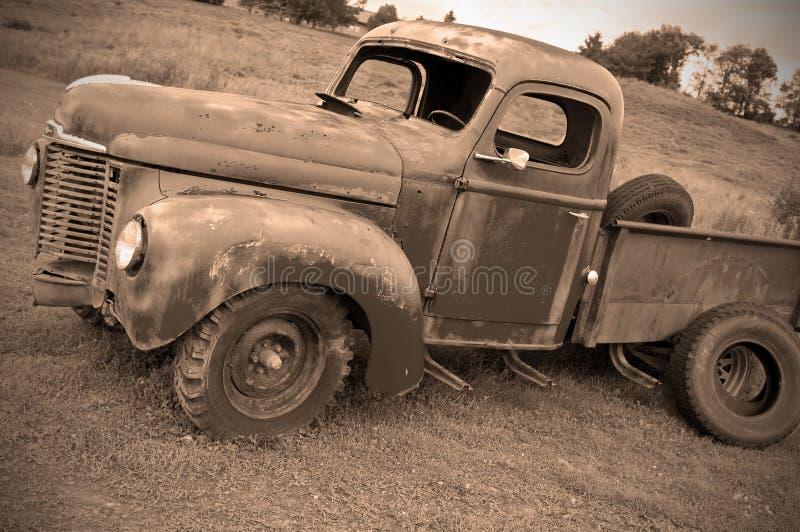Old abandoned farm truck stock photo