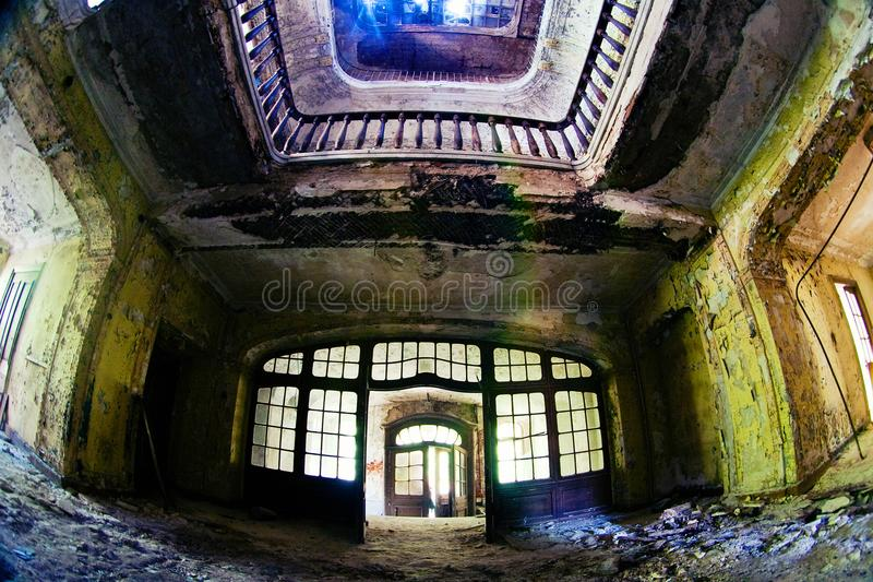 The old abandoned farmstead of Faberge is sunlight. Broken glass. stock photos