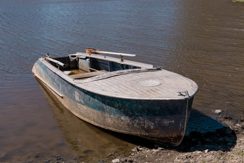 Old abandoned fishing boat royalty free stock photo