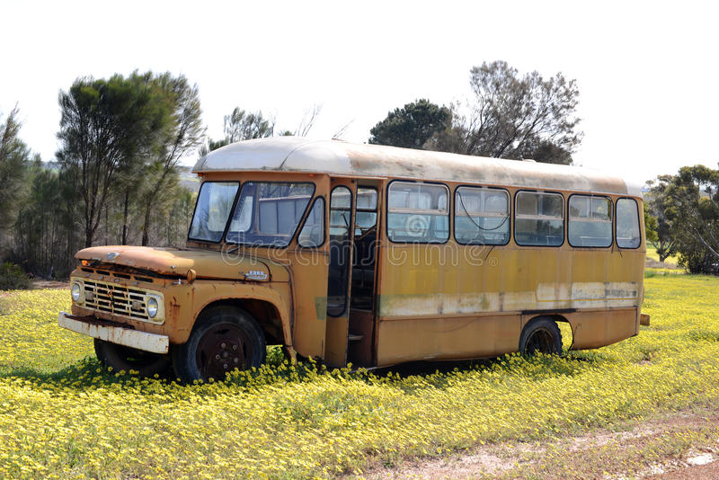 Old abandoned Ford school bus in Western Australia royalty free stock images