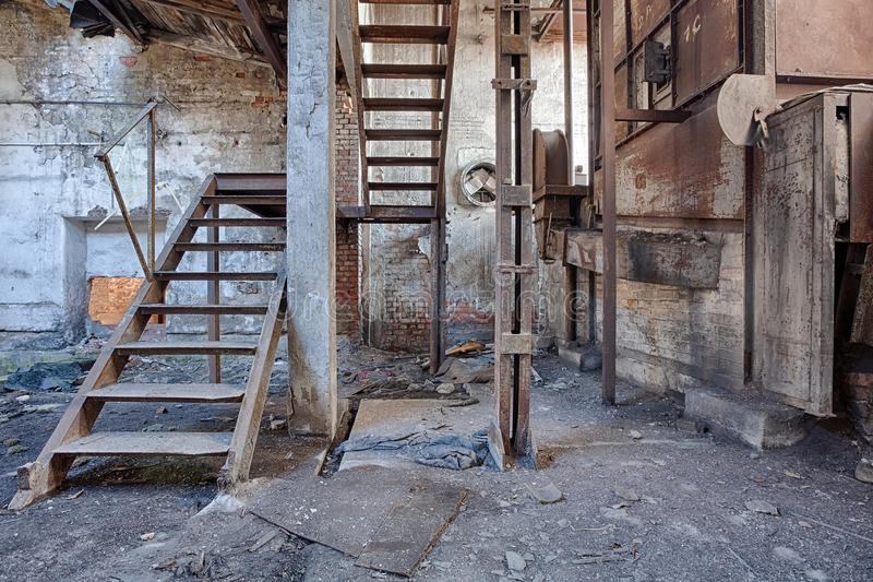 Old, abandoned and forgotten brick factory stock image