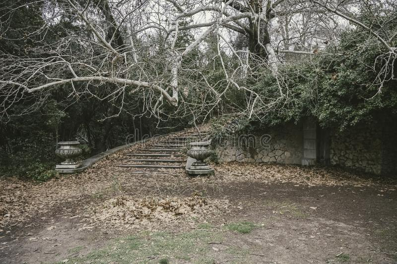 Old abandoned park with ruined neoclassical constructions stock photo