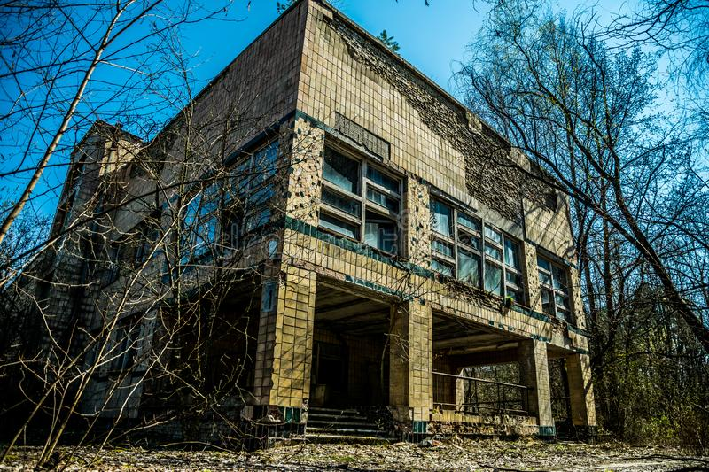 Old abandoned hospital in the city of Pripyat, Ukraine. Consequences of a nuclear explosion at the Chernobyl nuclear power plant. Chernobyl Exclusion Zone royalty free stock images