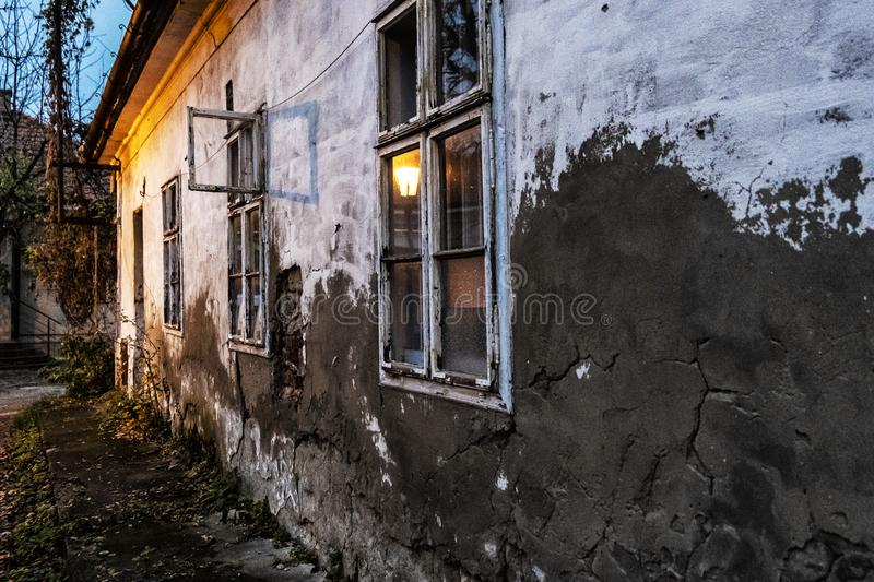 Old abandoned house in the evening light, Nitra. Slovak republic royalty free stock images