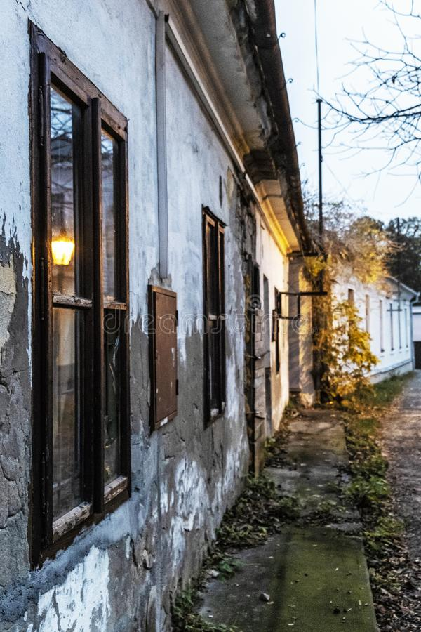 Old abandoned house in the evening light, Nitra. Slovak republic stock photos