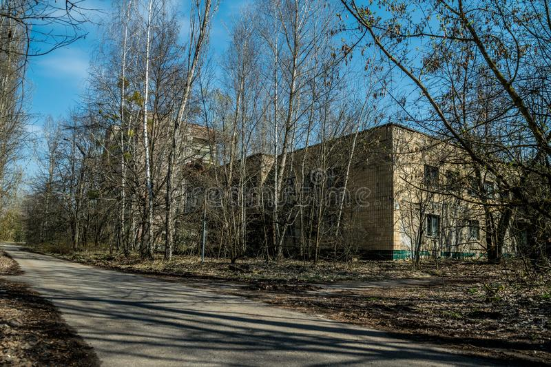 Old abandoned house in the ghost town of Pripyat, Ukraine. Consequences of a nuclear explosion at the Chernobyl nuclear power plan. Chernobyl Exclusion Zone stock photos