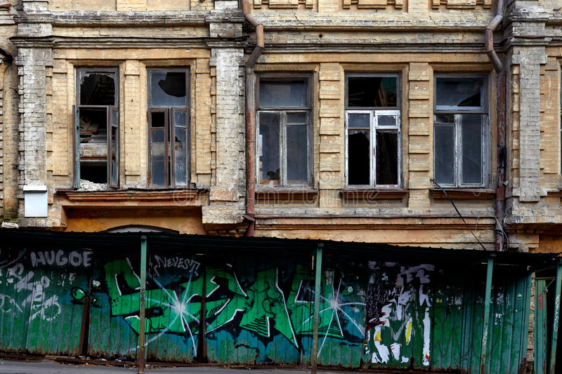 Old abandoned house in Kiev stock photos