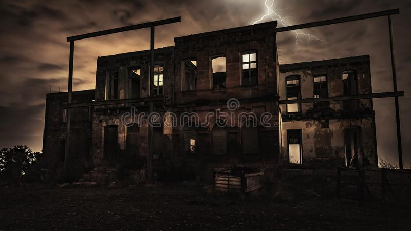 Old abandoned house at night. Time royalty free stock images