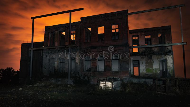 Old abandoned house at night. Time royalty free stock image