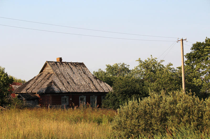An old abandoned house in Russian countryside stock images