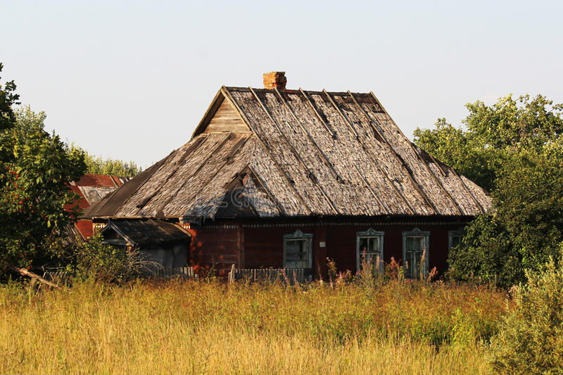 An old abandoned house in Russian countryside stock photo