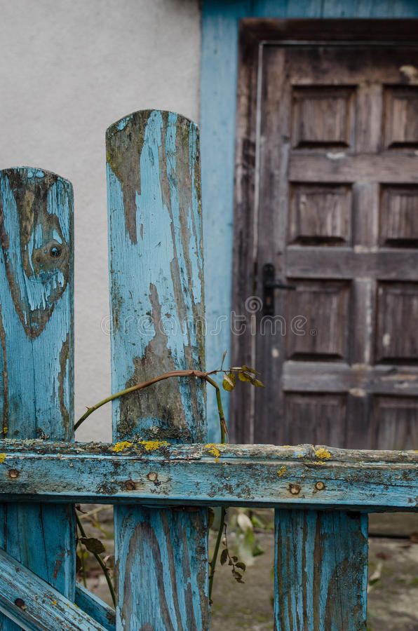 Old abandoned hut plays its flowers stock photography