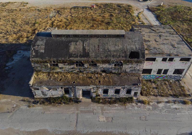 Old, abandoned industrial building from above stock image
