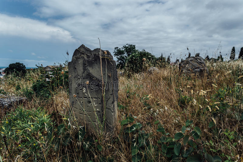 Old abandoned Jewish cemetery stock photography