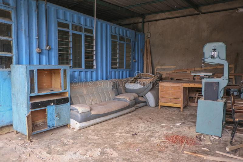Joinery in Nairobi. An old abandoned joinery in Nairobi stock images