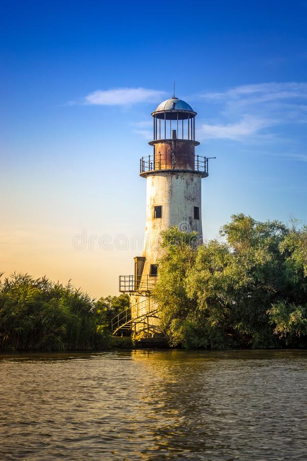 "Old lighthouse. The old, abandoned lighthouse of Sulina, the ""Old Lighthouse"", Danube Delta, Romania. Used from 1887 to 1920 royalty free stock images"