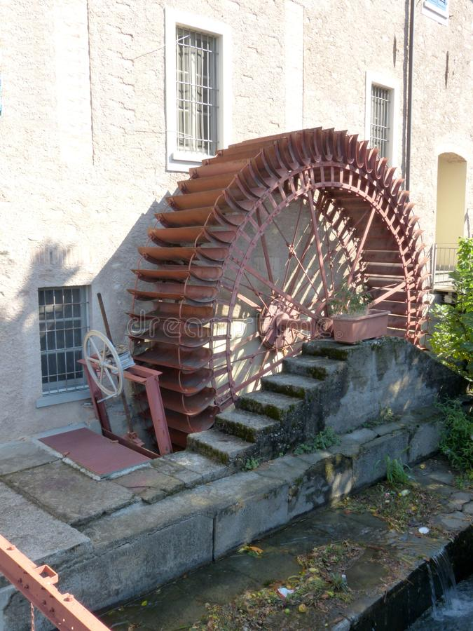 An old abandoned mill in the alleys of the small village of Chiari - Italy 01. Image of an old abandoned mill in the alleys of the village of Chiari - Italy 01 royalty free stock photo