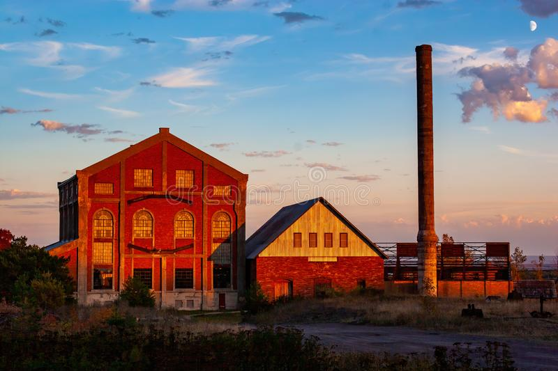 Old Abandoned Mine in the Upper Peninsula of Michigan. At sunset in the fall royalty free stock image