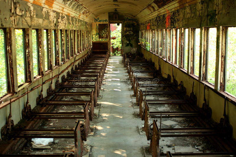 Old abandoned passenger train car stock images