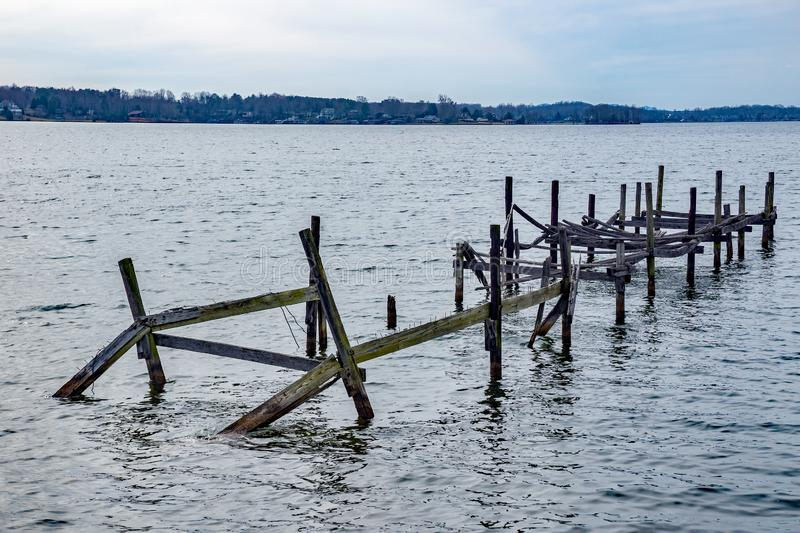 Old Abandoned Pier at Smith Mountain Lake. An image of an old abandoned broken down pier located on Smith Mountain Lake, Virginia, USA royalty free stock photography