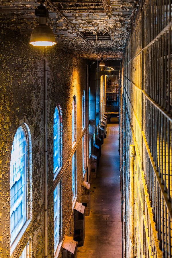 Old abandoned prison reformatory cell block royalty free stock photo
