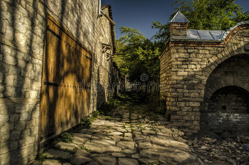 Old abandoned ruined stone streets in historic Lahic village, Azerbaijan Big Caucasus royalty free stock images