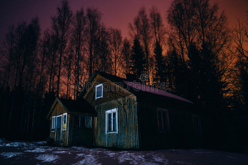Old, Abandoned Rural House At Night Stock Photo - Image ...