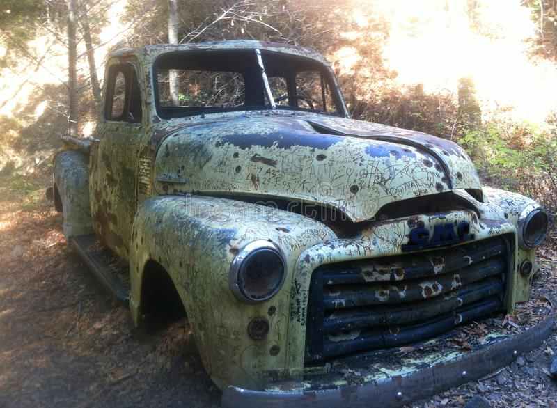Old truck in the woods stock image