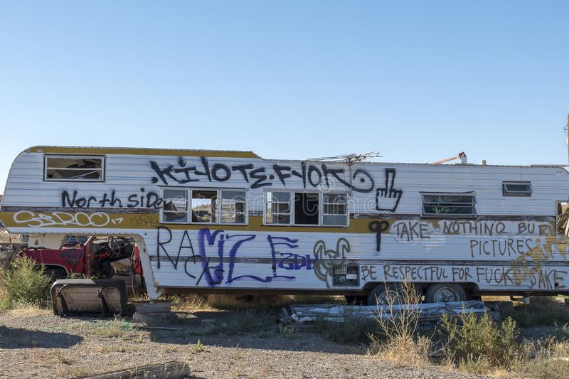 Old abandoned trailer in Ghost Town stock images
