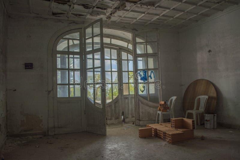 Old abandoned sanatorium, main entry royalty free stock photo