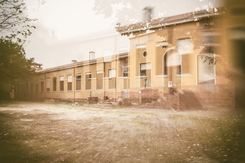 Old abandoned school stock photo