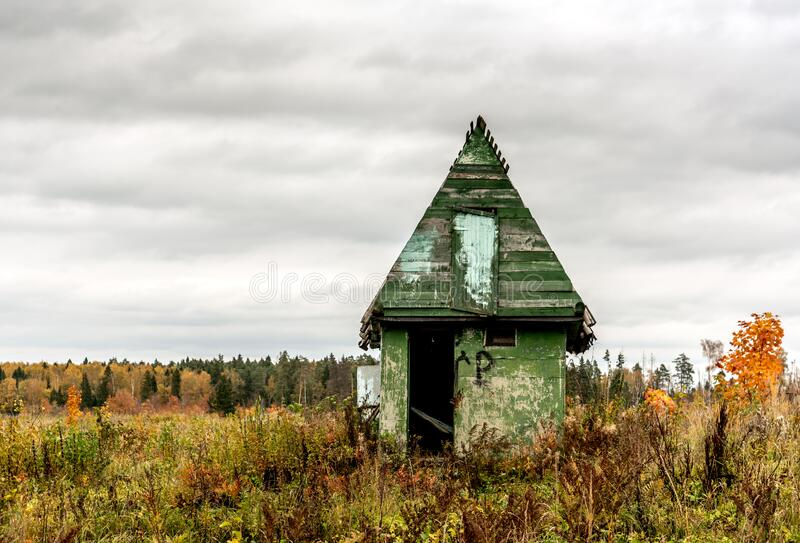 Old abandoned shed in the valley of North . Old abandoned building with a beautiful background. Old abandoned shed in the valley of North. Old abandoned stock image