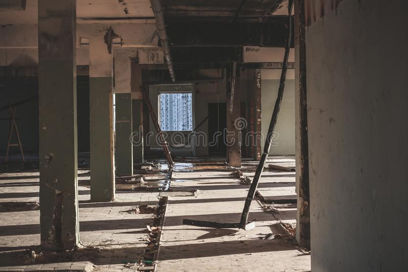 Old abandoned soviet factory completely destroyed and devastated royalty free stock images