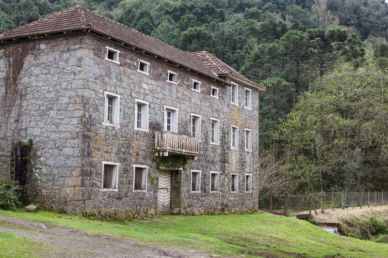 An old abandoned stone house at Rio Grande do Sul - Brazil stock image