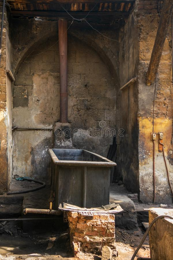 Old abandoned textile dyeing Plant, Cairo, Egypt. Old abandoned textile dyeing Plant, Old Cairo, Egypt stock photography