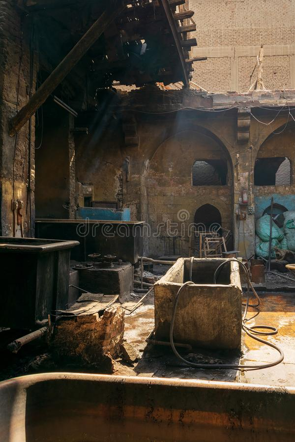 Old abandoned textile dyeing Plant, Cairo, Egypt. Old abandoned textile dyeing Plant, Old Cairo, Egypt stock image