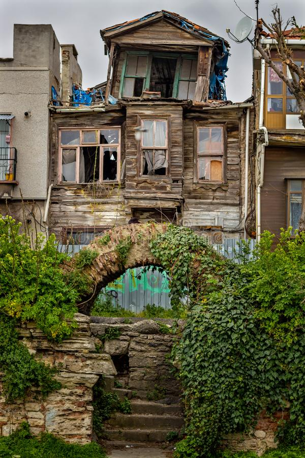 Old abandoned traditional turkish wooden house on Istanbul, Turkey stock photos