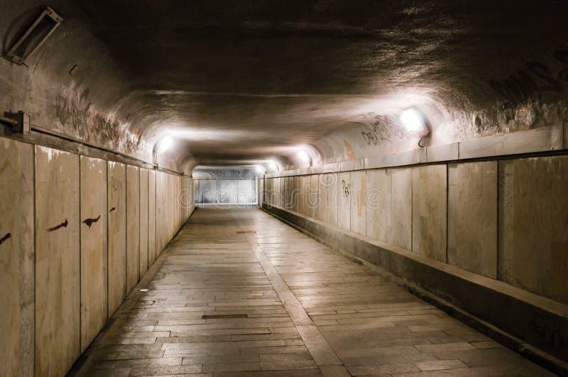 Old abandoned underground tunnel royalty free stock photo