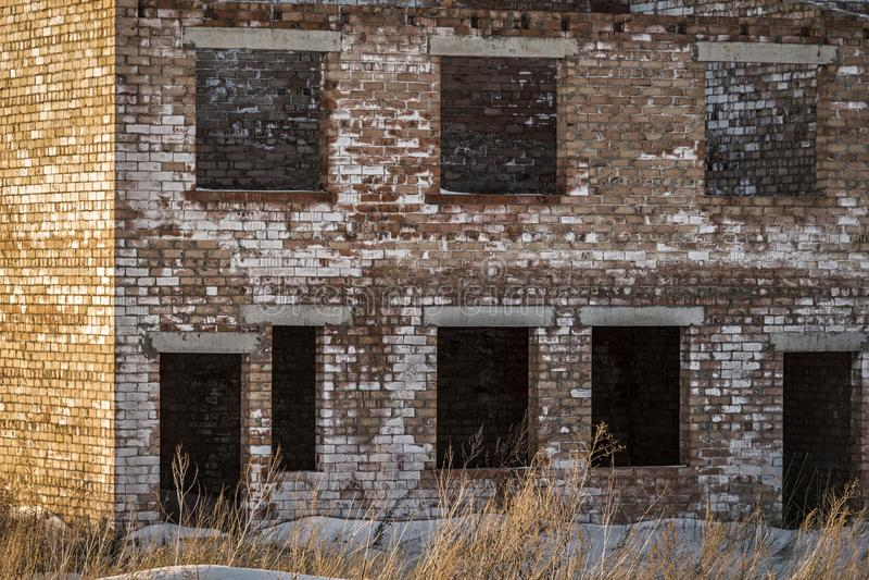 Unfinished brick building royalty free stock photo