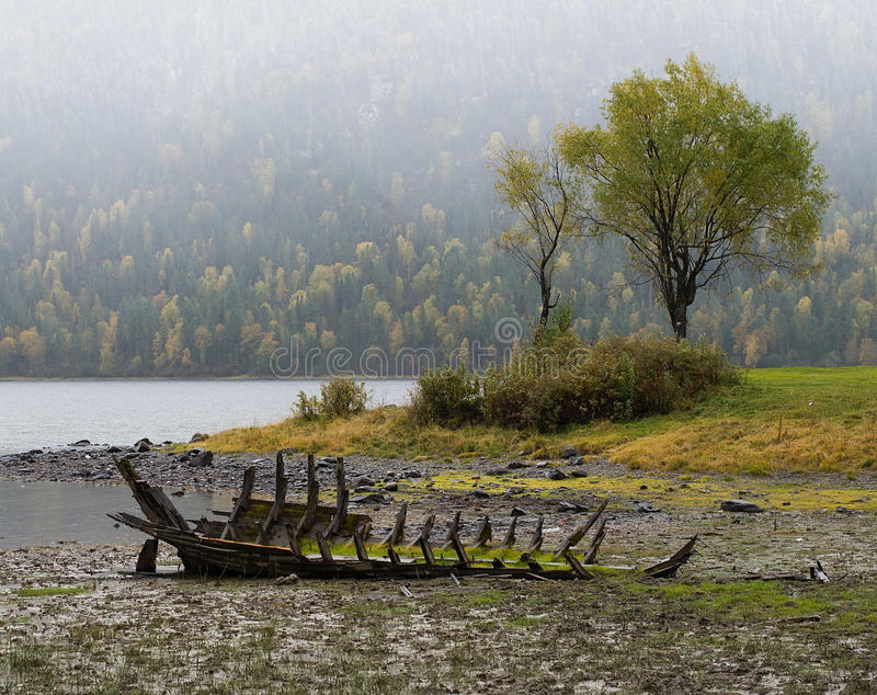 Old abandoned wooden boat on the lake. royalty free stock image
