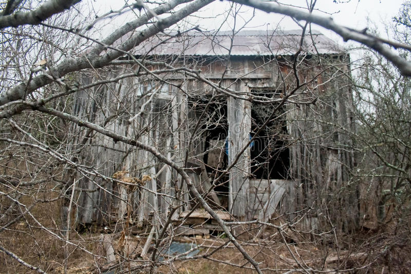 Old Abandoned Wooden Shack. An old wooden shack falling apart in the woods after being abandoned stock photo