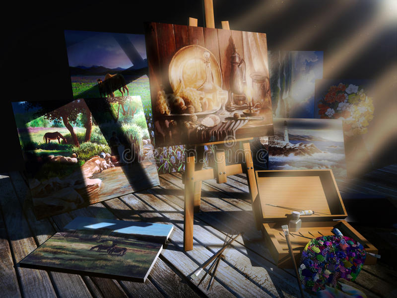 Old abandonned paintings. On a wooden ground, a painting palette, tubes and brushes next to several oil paintings representing different themes royalty free illustration