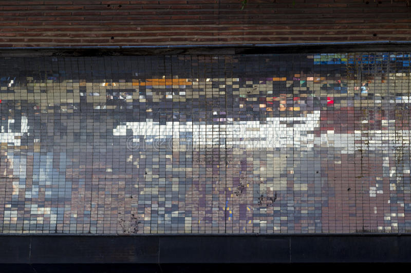 Old abstract colorful square pixel mosaic background on wall str royalty free stock photography