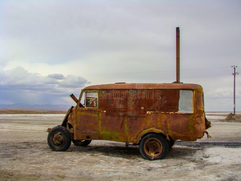 Old abundant car on the ground stock image