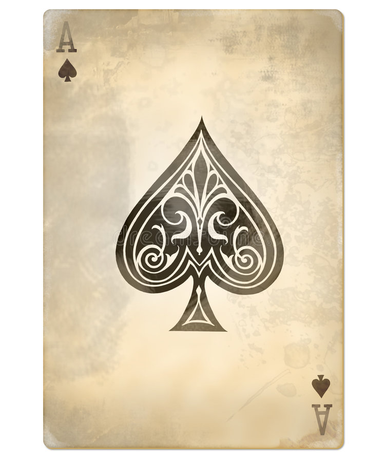 Old ace of spades. Old playing card, single ace of spades