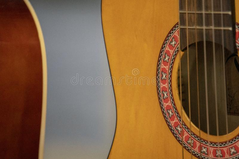 Old acoustic guitar detail. Close up stock images