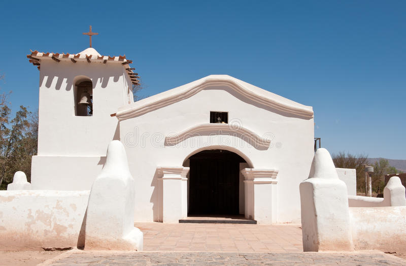 Old adobe church in the countryside of Argentina. royalty free stock images
