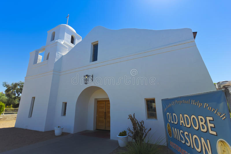 An Old Adobe Mission Shot, Scottsdale, Arizona stock image