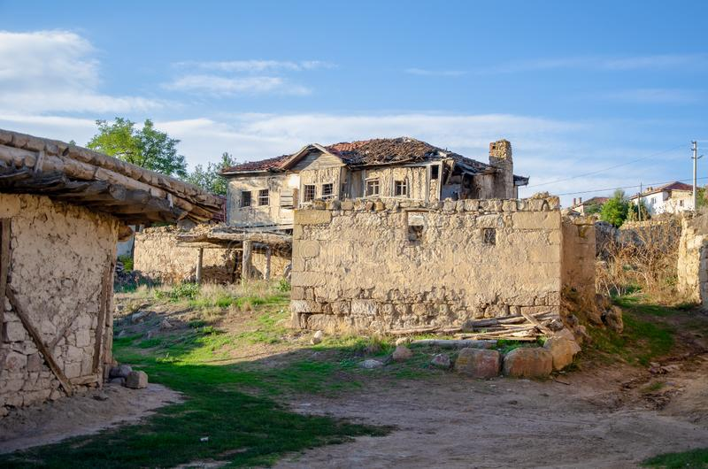 Old and adobe village houses stock photography
